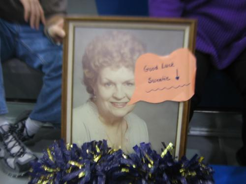 Grandma at the basketball game - She cheered with the cheerleaders at the game