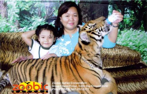 me, nadine & a baby tiger - Me, my daughter Nadine and a baby tiger at the Zoobic Safari