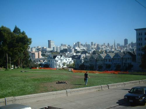 san fran park and houses sunny - san fran park and houses sunny day, taken from bus