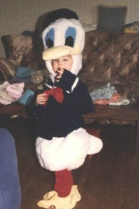 grandson in costume - He loved this one,pretended he was a duck,even tried walking lkie one