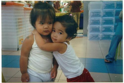 tin and friend - getting hugged by somebody from out of nowhere