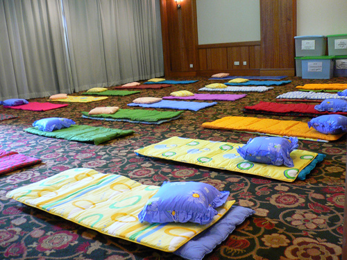The antenatal exercise area - This is the antenatal class exercise area that was setup so that participants would be able to learn the proper technique to exercise.