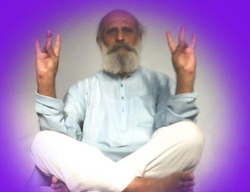 Meditation with Open Eyes and with Mudras - Here this pgoto demonstrating the open eye meditation with mudra.