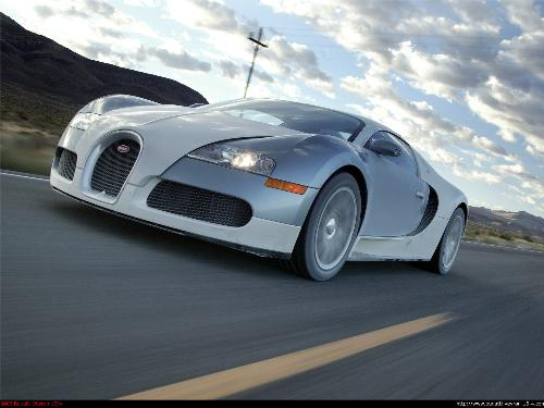 Bugatti Veyron - The fastest production car in the world. was able to run 407 km/h on a track in Germany driven by James May, one of the hosts of BBC's TopGear.