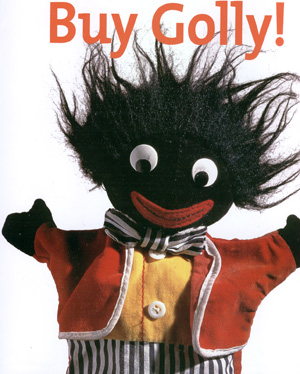 Cute, but does it offend? - A golliwog character. Strange pun though...