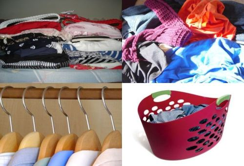 What do you do with your clothes? - A combined picture of 4 things you can do with your clothes.