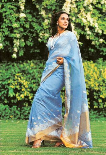 A well draped Saree - Neha Dupia is the actress wearing an elegant blue saree