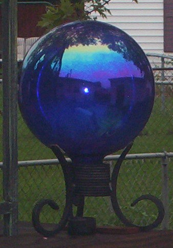 gazing ball - Gazing balls are neat to look at.