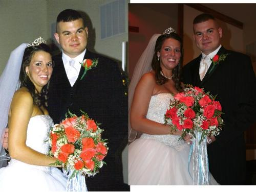My sister and her bubby - My sister and her hubby. One is the pic I took and the other the photographer took.
