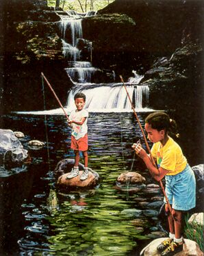 Children fishing - Children fishing peacefully in a pond.This is what kids should be doing