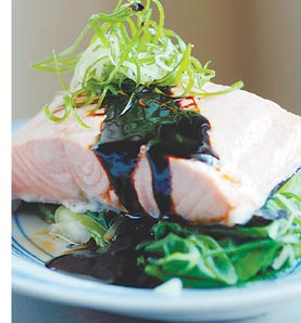 Steamed Salmon & Bok Choy - Healthy * tasty. Easy to prepare too. Bok Choy is my favourite.
