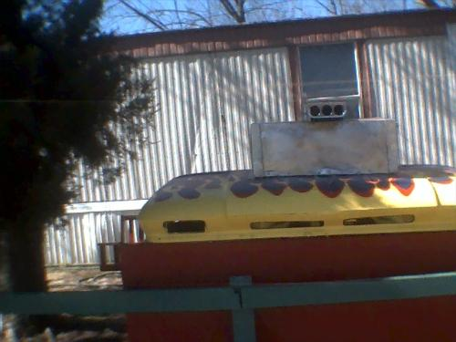 """Bar-B-Q Grill - My husband built this """"Grill"""" from an old truck hood."""