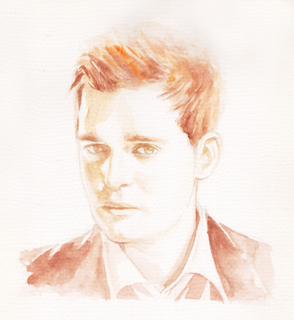 """Watercolor Portrait of Michael Buble - I saw Michael Buble's """"Caught in the Act"""" concert on DVD. It inspired me to create a portrait based on one of his CD covers."""