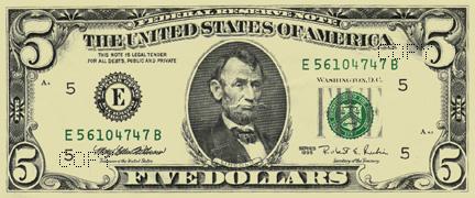 Free $5 Bucks - five dollar bill
