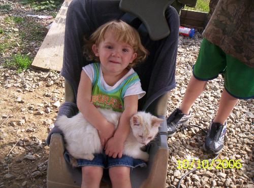 Key-Key - This is Key-Key & my niece that made sure I gave this stray kitten a home.