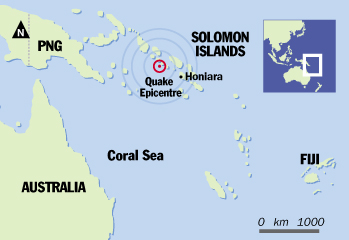 Tsunami map - The area between our coast & the Solomon Islands, showing where the earthquake hit.