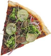 veggie pizza - a slice of veggie pizza.