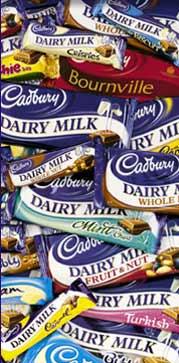 Cadburys chocolate bars. - various Cadbury's bars.