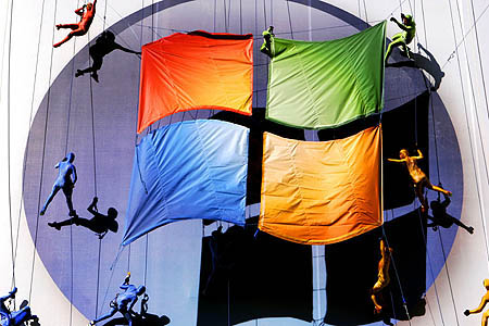 Microsoft - Microsoft pulled out all the stops to promote the launch of its new operating system -- including an aerial performance yesterday in New York -- but experts expect few consumers will rush out to buy it.