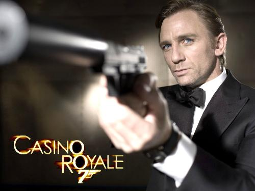 Casino Royale - This photo is the famous shot from Casino Royale, featuring James Bond in a tuxedo, aiming his silenced weapon down at some unfortunate assailant.