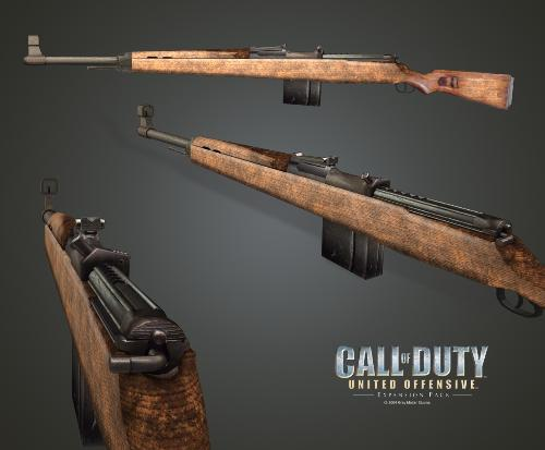 The Gewehr 43 - This picture is a high-polygon rendering of the Gewehr 43 rifle as seen in the Call of Duty: United Offensive expansion pack.