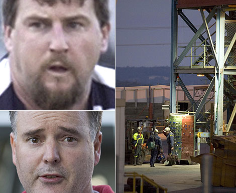 Beaconsfield Mine Tragedy - Todd Russell, top left, one of the trapped miners, mine manager Matthew Gill and Beaconsfield mine. Photos: Peter Mathew and The Examiner