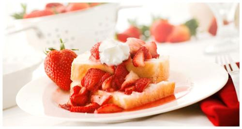 Strawberry Shortcake - Hull, clean and slice strawberries. In a medium mixing bowl combine sliced strawberries and 2-3 Tbls sugar (depending on how sweet you would like your sauce). Refrigerate for approx. 30 minutes or until the strawberries release their juices.     Slice prepared angel food cake or use the angel food cups. Top with the strawberries and whipped topping.