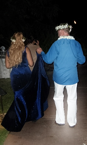 Post-wedding stroll - So chivalrous he is! New husband and I going to our after wedding dinner on the beach.