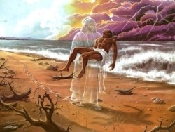 Footprints in the Sand - God carries us in times of our sufferings and loneliness.