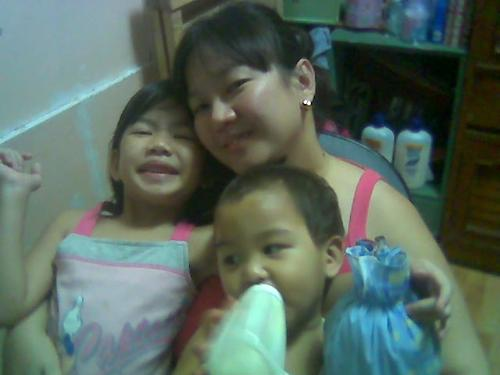 me and my two adorable kids - my children and me, goofing around in our room before bedtime