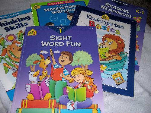 Books we are working on now - This photo was taken today...it is the current set of books that we are working on...  'Thinking Skills' for ages 4-6 by School Zone 'Kindergarten Basics' by School Zone 'Manuscript Writing' for ages 5-7 by School Zone 'Reading Readiness' grades K-1 by School Zone 'Sight Word Fun' grade 1 by School Zone