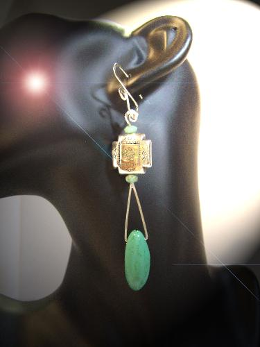 Handcrafted Turquoise Earrings - Turquoise earrings made by feral-designs.com