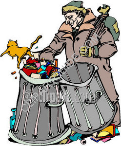 Clip art image of a homeless man going through gar - Homeless man looking through garbage