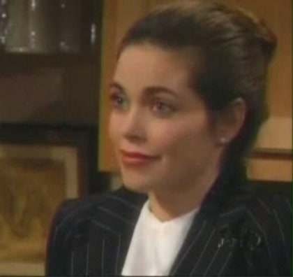 Victoria (Amelia Heinle) giving ultimatum to Brad - Victoria telling Brad to sell the Clearwater properties to NVP and she won't tell about his insider trading and will let him keep his board seat.