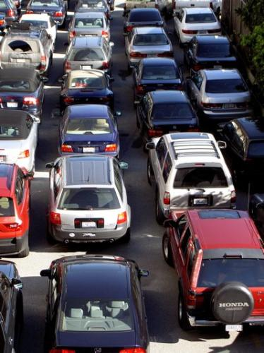 A Typical traffic jam - A traffice jam in the middle of a high way may be in a large city
