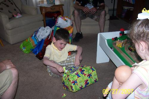 Opening Presents After the Party - This was sad. He had to open his presents at home, not in front of his guests.