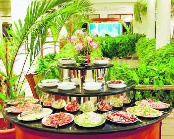A Buffet on Display - Picture of food items on display in a Restaurent.