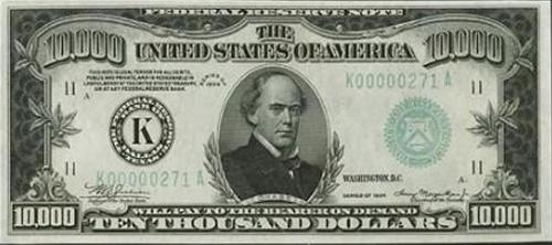 Picture of a large denomination bill - image of money