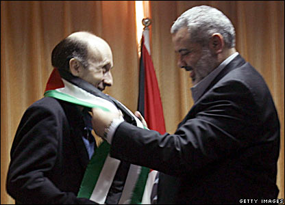 Alan Johnston is welcomed at Hanniyeh's house afte - BBC Gaza City correspondent, Alan Johnston, is welcome by former Palestinian prime minister Ismail Hanniyeh at his house. The Hamas leader insists he is still prime minister of Palestine (or the Palestinian Authority) and points out that his securing Mr Johnston from captivity shows how serious Hamas is at ensuring security in well-maintained in Gaza City.