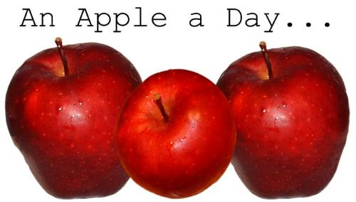 an apple a day keeps the doctor away! - apples should indeed be part of our healthy diet. so we should believe in the saying that an apple a day keeps the doctor away! apples are rich in vitamin C, A, and fiber! Would you believe that apples reduce the risk of cancer in any part of the body?? Eat apples now.:)