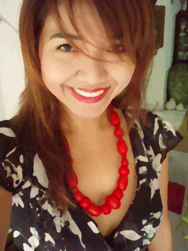 Paint - Red beads and a black and white dress