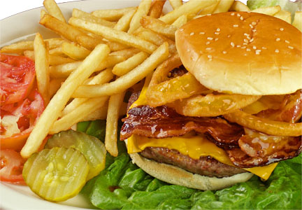 burger - burger with french fries.