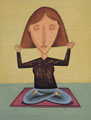 Woman meditating. - A woman sitting in the lotus position, meditating