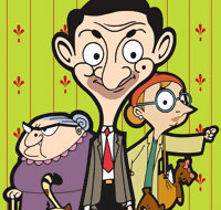 Mr.bean the comedian - Mr. Bean in the animation alongwith his girl friend, Irma Gobb and landlady Mrs. Wicket.
