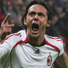 Pipi inzaghi - One of the characteristic grimases of the goal-scoring Pipi.