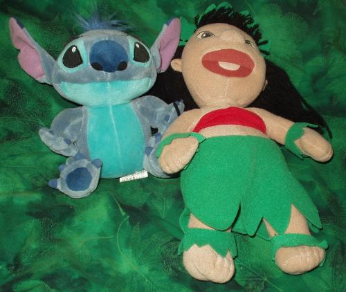 Lilo & Stitch Plush - Lilo is a little Hawaiian girl and Stitch is a little blue alien genetic experiment that was created by an alien mad scientist named Jumba Jookeeba [I think I spelled that wrong]. The series is on the Disney Channel and there are movies out too.