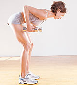 Bent over Row - Strengthens back, rear shoulders, biceps and hamstrings