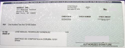 Google's cheque - Google's Cheque for a adsense customer of them.