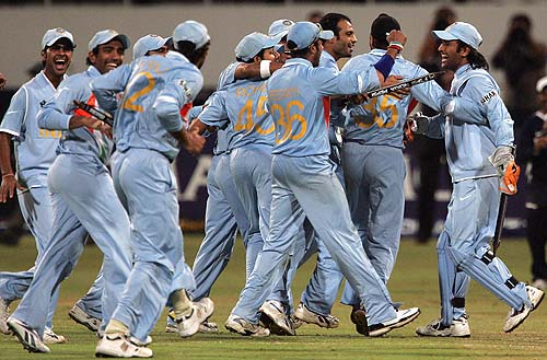 ITs Time for joy. - Indian team celebrates a thrilling win with the world champions
