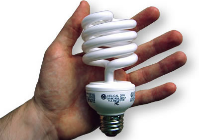 """Fluorescent bulb - Compact fluorescent bulb. Some people complain that fluorescent light is """"harsh"""" or """"cold"""" or some such nonsense. The fact is, as long as you have a modern flicker-free high frequency electronic ballast such as you find in almost every compact fluorescent bulb, the light from a fluorescent bulb is far more pleasant and nature than light from an incandescent bulb. Incandescent light is dingy and yellow in comparison. It makes white walls look dirty and faded, and it comes nowhere near approximating the color of daylight, which is the gold standard against which light is judged, because daylight is what we are evolved to like."""